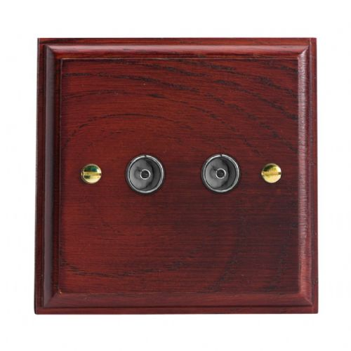 Varilight XK88M Kilnwood Mahogany 2 Gang Co-Axial TV Socket